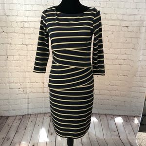 J. McLaughlin Navy and Cream Striped Dress Size S